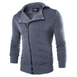 Slim Fit Oblique Zipper Turn-Over Collar Sweatshirt