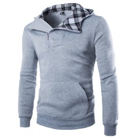 Casual Plaid Panel Slim Fit Zipper Hoody
