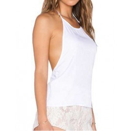 Simple Backless Chiffon Tank Top with Lace Pattern