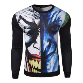 Funny Asymmetrical Print Slim Fit Sweatshirt with Round Neck