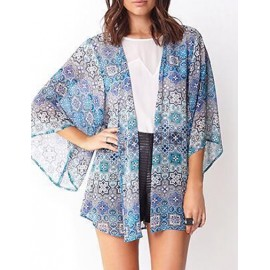 Dressy Snow Flake Printed Short Sleeve Chiffon Kimono in Color Block Size:S-L