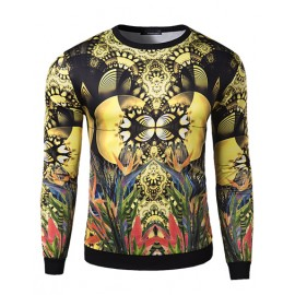 Abstract Plant Print Long Sleeve Slim Fit Sweatshirt