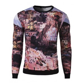 Brilliant Slim Fit Long Sleeve Sweatshirt with Construction Print