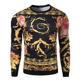 Vintage Print Close Fitting Sweatshirt For Men
