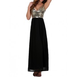 Chic Deep V-Neck Sleeveless Maxi Dress with Sequin Trim