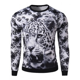 Fashionable Monochrome Leopard Print Slim Fit Sweatshirt