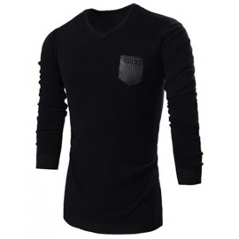 Fashion PU Patch Decorated V-Neck Slim Fit Sweater