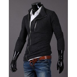 Stylish Slanted Zipper Cardigan in Pure Color