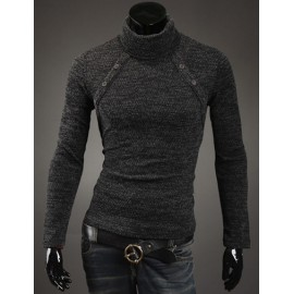Stylish Turtle Neck Buttons Trim Sweater