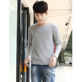 Trendy Pure Color Round Collar Sweater in Loose-Fit