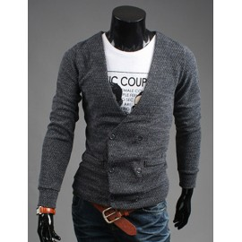 Stylish Double-Breasted Cardigan with Plunging Neckline For Men