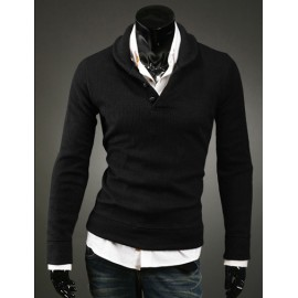 Simplicity Pure Color Knitwear with Button Placket For Men