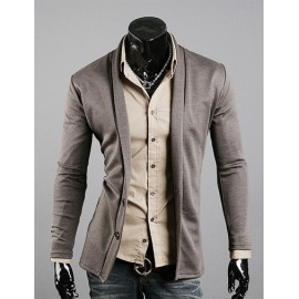 Simple Double Buttons Trim Cardigan with Shawl Collar For Men
