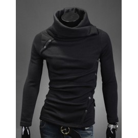 Fashion Turtle Neck Knit Top with Multi-Buttons Design For Men