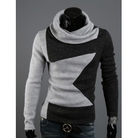 Cosy Turnover Collar Knitwear in Contrast Color For Men