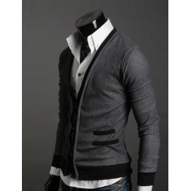 Stylish Button Design Cardigan with Contrast Trim For Men