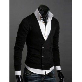Retro V-Neck Cardigan with Double-Breasted Design For Men