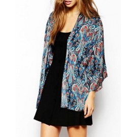 Vintage Paisley Printed Batwing Sleeve Kimono with Open Front Size:S-L