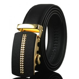 Fashion Checked Inlay Embellished Buckle Leather Belt