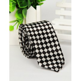 Classic Checked Printed Two Tone Skinny Neck Tie with Arrow Shape
