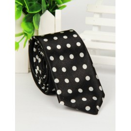Classic Polka Dots Two Tone Skinny Neck Tie with Arrow Shape