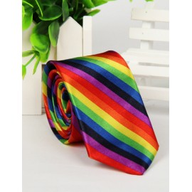 Gaudy Colorful Stripe Printed Skinny Neck Tie with Arrow Shape