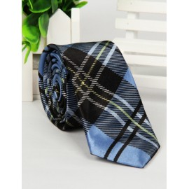 Modish Checked Pattern Skinny Neck Tie with Arrow Shape