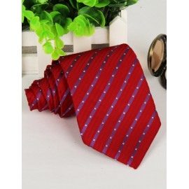 Red Hot Dots Printed Pointy Toe Neck Tie with Strip Pattern