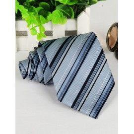 Workwear Stripe Jacquard Arrow Shape Neck Tie in Color Panel
