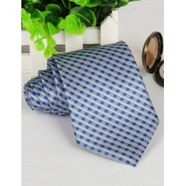 Modish Mini Checked Jacquard Neck Tie with Strip Pattern