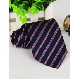Gentlemanly Slanted Stripe Pattern Neck Tie in Color Panel