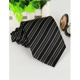 Classic Jacquard Pattern Arrow Edge Neck Tie in Stripe Trim
