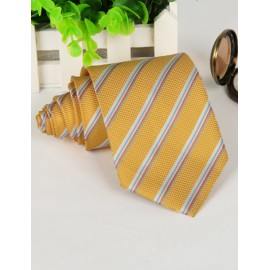 Luxury Slanted Stripe Pattern Neck Tie in Gold
