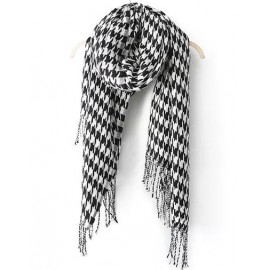 Classical 184CM Houndstooth Tassel Cape Scarf
