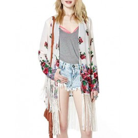 Fancy Floral Printed Tassel Hem Kimono with Long Sleeve Size:S-L