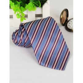 Business Jacquard Stripe Pattern Neck Tie with Arrow Edge