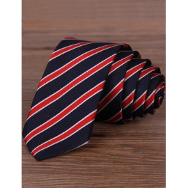 England Stripe Pattern Color Panel Skinny Neck Tie with Arrow Shape