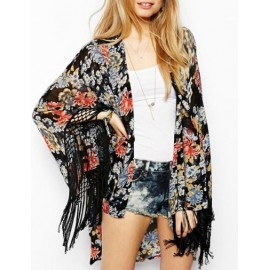 Trendsetting Floral Printed Tassel Hem Kimono with Open Front Size:S-L