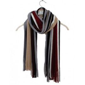 Korean Color Panel Stripe Printed Scarf with Tassel Trim