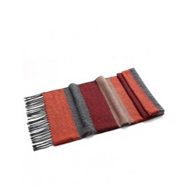 Nordic Color Panel Bold Stripe Scarf with Tassel Hem