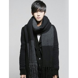 Styling Contrast Color Black Gray Scarf with Tassel Hem