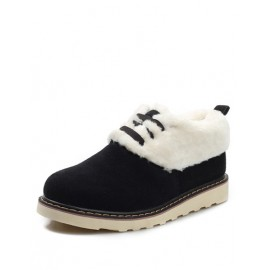 Concise Fluffy Fur Lace-Up Boots in Two Tone