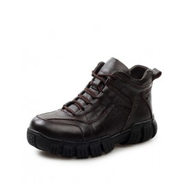 Sportive Seaming Trim Lace-Up Boots with Fleece Lining