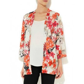 Bali Trendy Floral Printed Split Side Kimono with 3/4 Sleeve Size:S-L