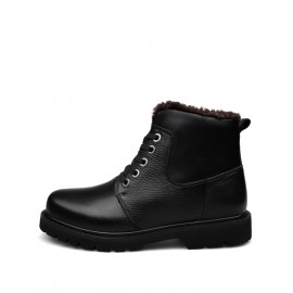 England Lace-Up Fleece Lining Martin Boots in Solid Color