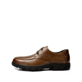 Fashionable Perforate Trim Almond Toe Dress Shoes with Lace-Up