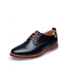 Gentle Round Toe Rivet Lace-Up Dress Shoes For Men