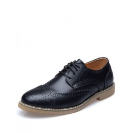 Retro Engraving Eyelet Design Formal Shoes For Men