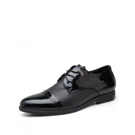 England Solid Color Lace-Up Dress Shoes with Perforate
