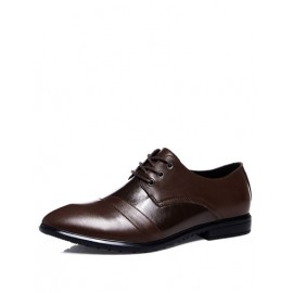 Baroque Pointy Toe Polished Dress Shoes with Lace-Up